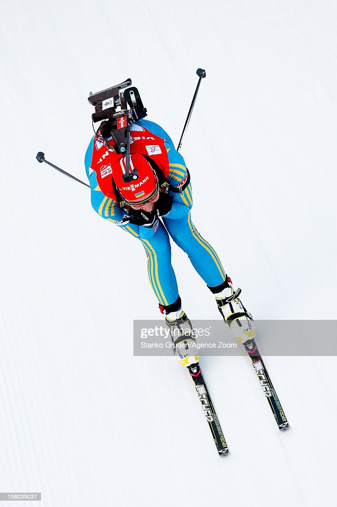 Olena Pidhrushna of Ukraine takes 2nd place during the IBU Biathlon World Cup Women's Relay on December 09, 2012 in Hochfilzen, Austria.