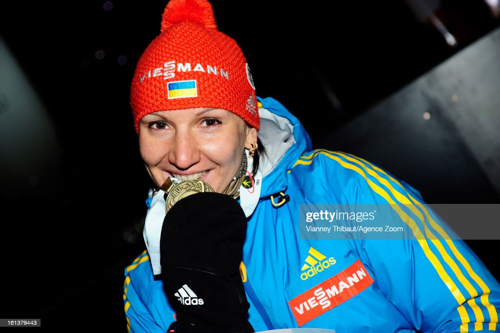 Olena Pidhrushna of Ukraine takes 3rd place during the IBU Biathlon World Championship Women's 10km Pursuit on February 10, 2013 in Nove Mesto, Czech Republic.
