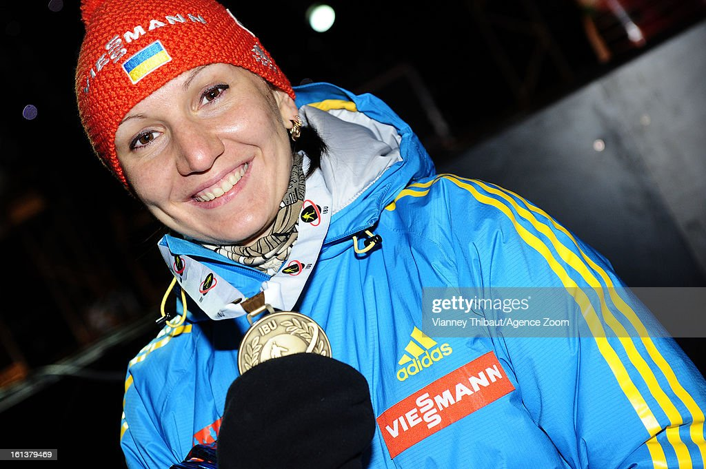Olena Pidhrushna of Ukraine takes 3rd place during the IBU Biathlon World Championship Women's 10km Pursuit on February 10, 2013 in Nove Mesto, Czech Republic.