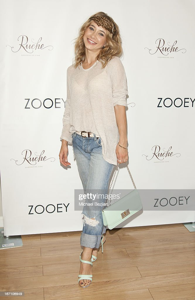 Olesya Rulin attends Zooey Magazine And A Beautiful Mess Present...Crafts & Cocktails Launch Party at Seychelles Shoes' Showroom on April 20, 2013 in El Segundo, California.