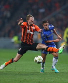 Olexandr Kucher of Shakhtar Donetsk fouls Eden Hazard of Chelsea during the UEFA Champions League Group E match between Shakhtar Donetsk and Chelsea...