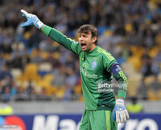 Olexandr Shovkovskiy of FC Dynamo Kyiv in action during the UEFA Champions League group stage match between FC Dynamo Kyiv and GNK Dinamo Zagreb at...