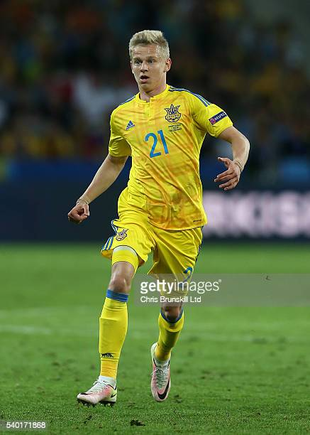 Olexandr Zinchenko of Ukraine in action during the UEFA Euro 2016 Group C match between Germany and Ukraine at Stade PierreMauroy on June 12 2016 in...