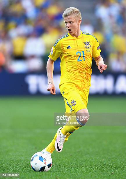 Olexandr Zinchenko of Ukraine with the ball during the UEFA EURO 2016 Group C match between Ukraine and Poland at Stade Velodrome on June 21 2016 in...