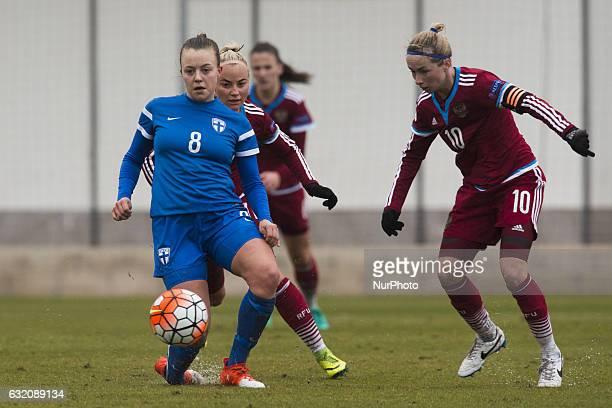Olga Ahtinen Ekaterina Sochneva during the pre season friendly match of national women's teams of Russia vs Finland in Pinatar Arena Murcia SPAIN...