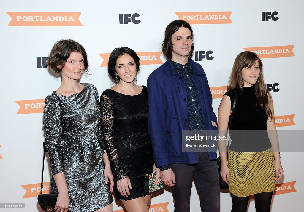 Olga Bell, Haley Dekle, David Longstreth and Amber Coffman of the band Dirty Projectors attend IFC's 'Portlandia' Season 3 New York Premiere at American Museum of Natural History on December 10, 2012 in New York City.