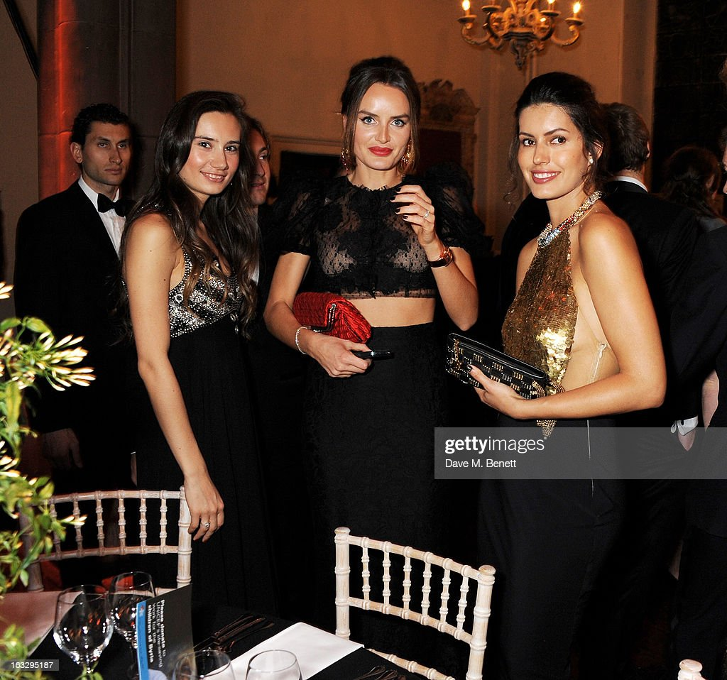 Olga Donskova, Masha Markova and Brenda Costa attend The Jasmine Ball in aid of UNICEF's Children of Syria Emergency Appeal at One Mayfair on March 7, 2013 in London, England.