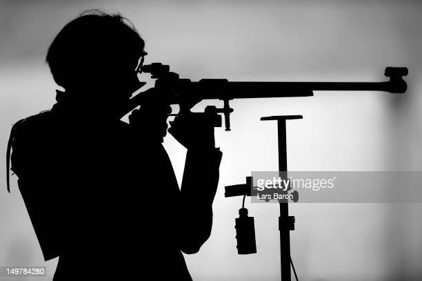 Olga Dovgun of Kazakhstan competes during Women's 50m Rifle 3 Positions Shooting Qualification on Day 8 of the London 2012 Olympic Game at the Royal...