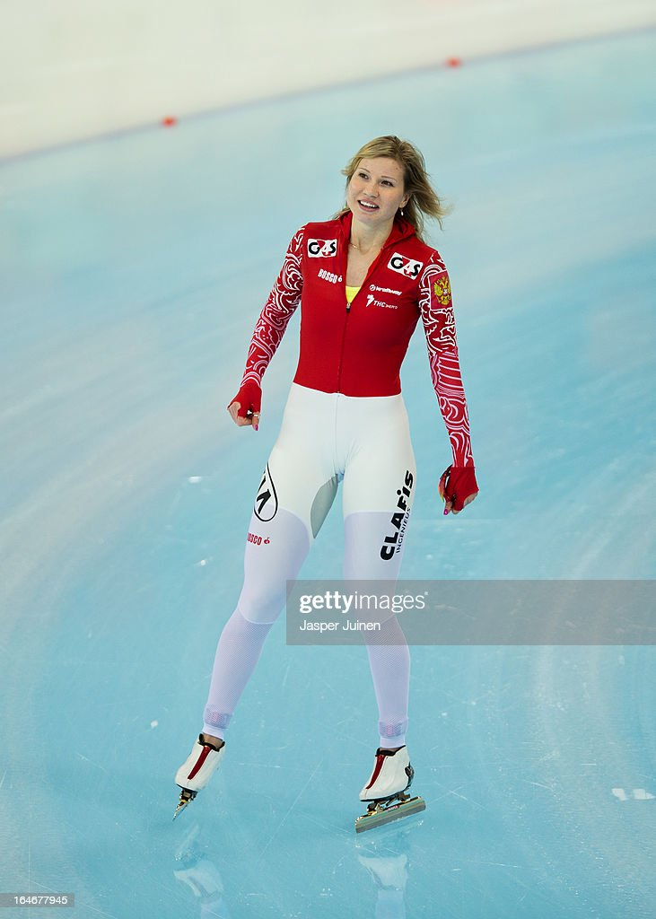 Olga Fatkulina of Russia after her 500m race on day four of the Essent ISU World Single Distances Speed Skating Championships at the Adler Arena Skating Center on March 24, 2013 in Sochi, Russia.