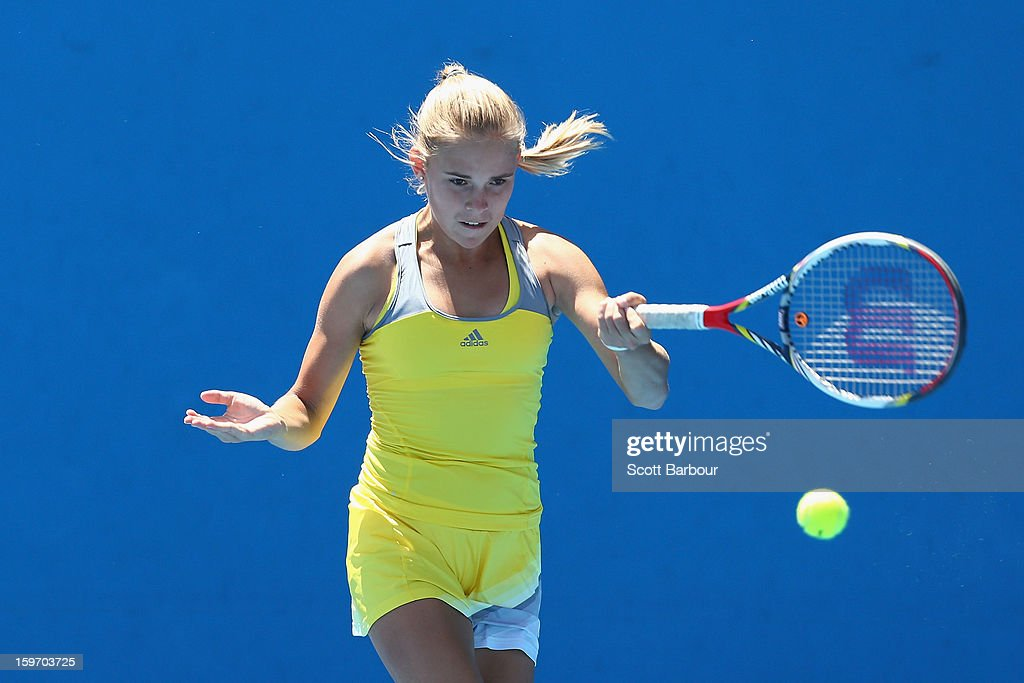 Olga Fridman of Ukraine plays a forehand in her first round match against Naiktha Bains of Australia during the 2013 Australian Open Junior Championships at Melbourne Park on January 19, 2013 in Melbourne, Australia.