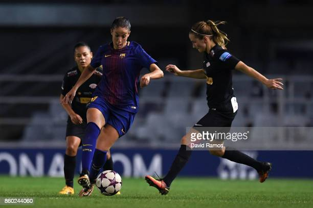 Olga garcia of FC Barcelona competes for the ball with Ingrid Ryland of Avaldsnes during the UEFA Womens Champions League round of 32 match between...
