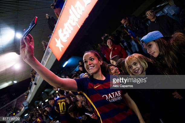 Olga Garcia of FC Barcelona takes a selfie with supporters after the UEFA Women's Champions League Quarter Final first leg match between FC Barcelona...