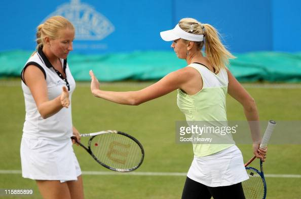 Olga Govortsova of Belarus and Alla Kudryavtseva of Russia during their doubles semi final match against Casey Dellacqua of Australia and Chanelle...