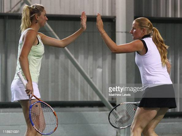 Olga Govortsova of Belarus and Alla Kudryavtseva of Russia in action during the Ladies Doubles Final against Sara Errani and Roberta Vinci of Italy...
