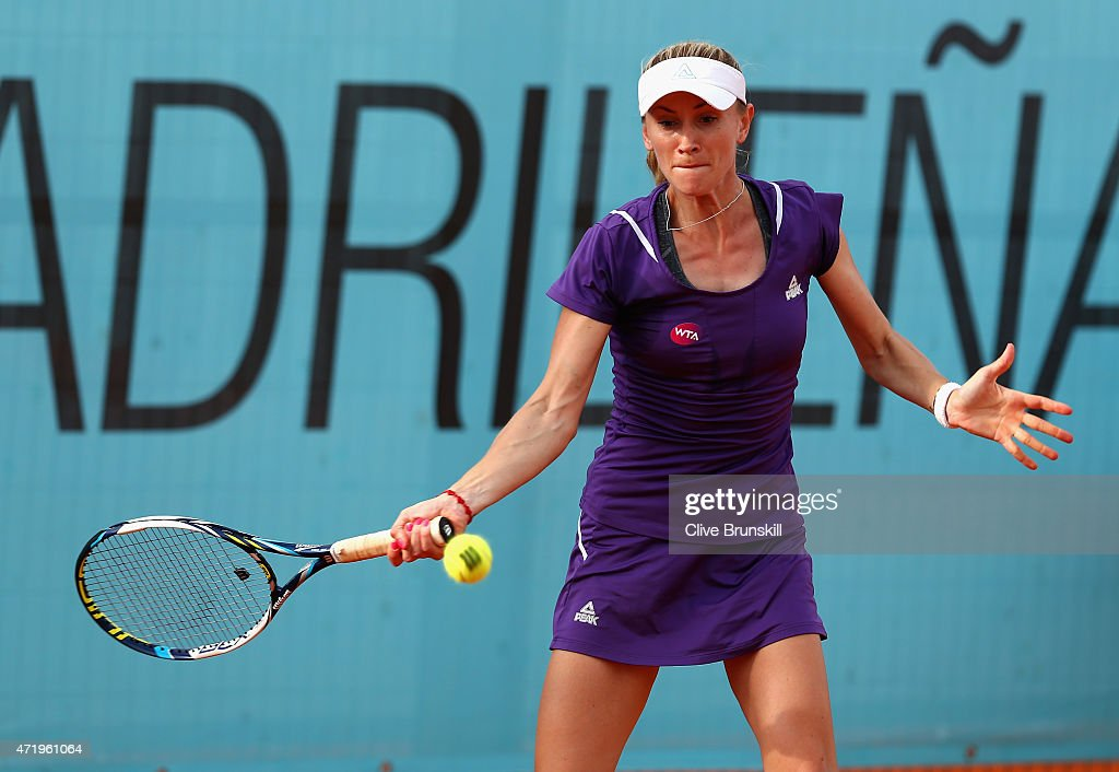 Olga Govortsova of Belarus in action against Misaki Doi of Japan in their match during day one of the Mutua Madrid Open tennis tournament at the Caja Magica on May 2, 2015 in Madrid, Spain.