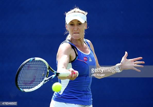 Olga Govortsova of Belarus in action in her qualifying match against Yuliya Beygelzimer of Ukraine during day one of the WTA Aegon Open Nottingham at...