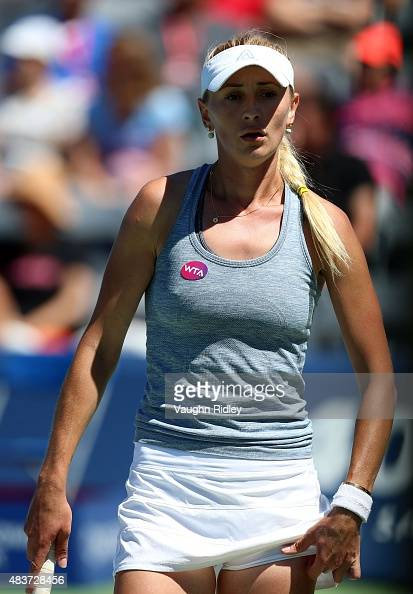 Olga Govortsova of Belarus looks on during her match against Ana Ivanovic of Serbia on Day 3 of the Rogers Cup at the Aviva Centre on August 12 2015...
