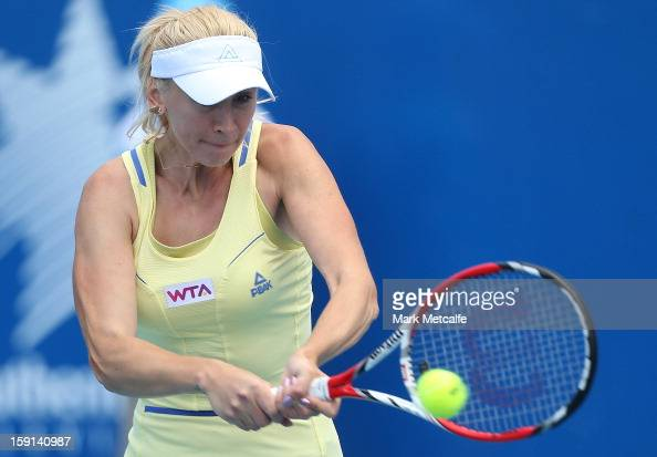 Olga Govortsova of Belarus plays a backhand in her second round match against Jarmila Gajdosova of Australia during day five of the Hobart...