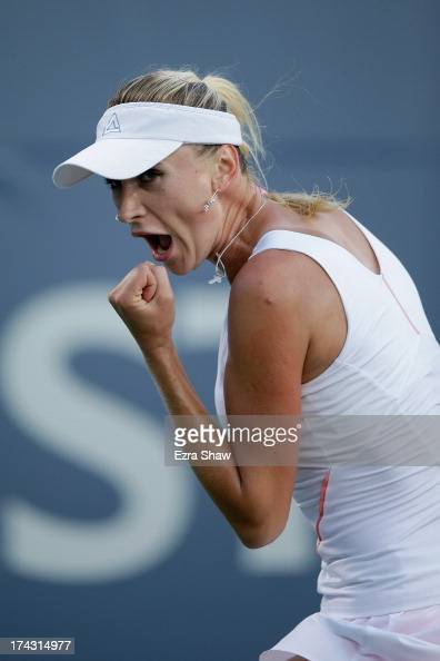 Olga Govortsova of Belarus reacts after winning a point during her match against Samantha Stosur of Australia on Day 2 of the Bank of the West...