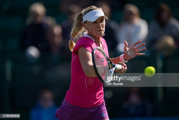Olga Govortsova of Belarus returns a shot during her match against Monica Niculescu of Romania on day three of the WTA Aegon Open Nottingham at...