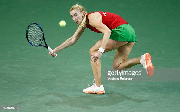 Olga Govortsova of Belarus returns a shot to Francoise Abanda of Canada during their Fed Cup BNP Paribas match at Laval University in Quebec City on...