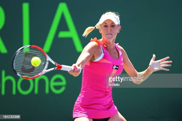 Olga Govortsova of Belarus returns a shot to Sloane Stephens of the USA during the Sony Open at Crandon Park Tennis Center on March 21 2013 in Key...