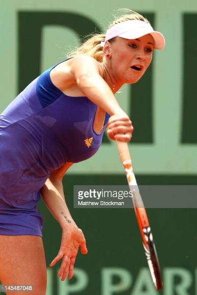 Olga Govortsova of Belarus serves in her women's singles second round match against Angelique Kerber of Germany during day 5 of the French Open at...