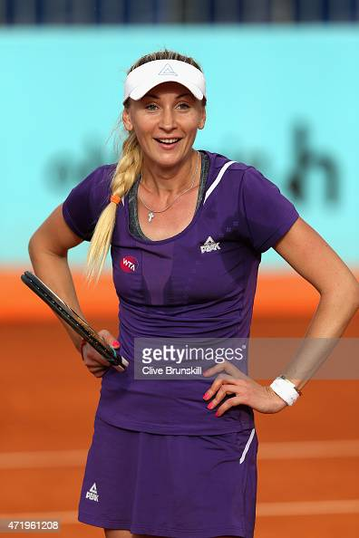 Olga Govortsova of Belarus shows her frustration against Misaki Doi of Japan in their match during day one of the Mutua Madrid Open tennis tournament...