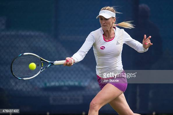 Olga Govortsova of Bulgaria returns a shot during her match against Katy Dunne of Great Britain on day two of the WTA Aegon Open Nottingham at...