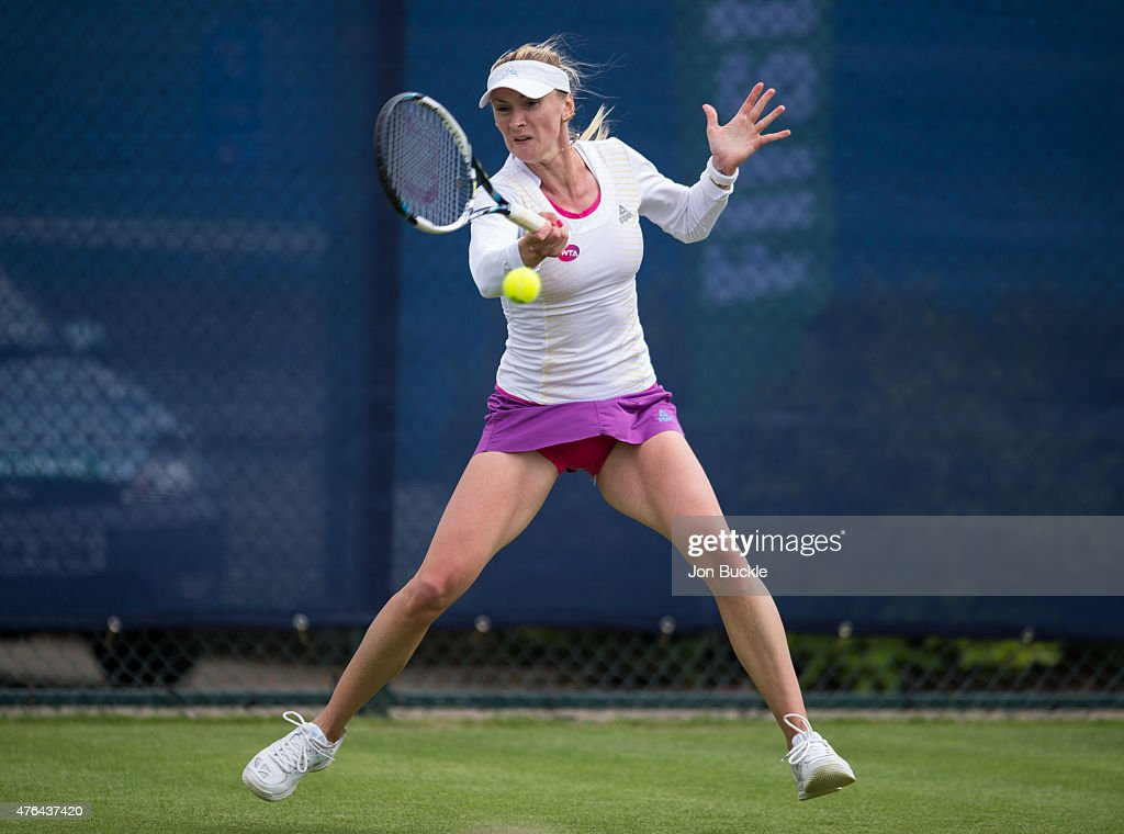 <a gi-track='captionPersonalityLinkClicked' href=/galleries/search?phrase=Olga+Govortsova&family=editorial&specificpeople=4325465 ng-click='$event.stopPropagation()'>Olga Govortsova</a> of Bulgaria returns a shot during her match against Katy Dunne of Great Britain on day two of the WTA Aegon Open Nottingham at Nottingham Tennis Centre on June 9, 2015 in Nottingham, England.