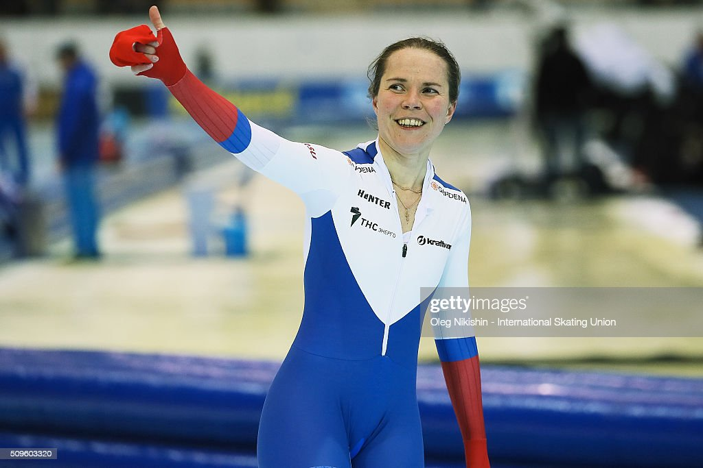 <a gi-track='captionPersonalityLinkClicked' href=/galleries/search?phrase=Olga+Graf&family=editorial&specificpeople=8696814 ng-click='$event.stopPropagation()'>Olga Graf</a> of Russia after competetion in the Ladies 3000 meters race during day 1 of the ISU World Single Distances Speed Skating Championships held at Speed Skating Centre «Kolomna» Ice Arena on February 11, 2016 in Kolomna, Russia.