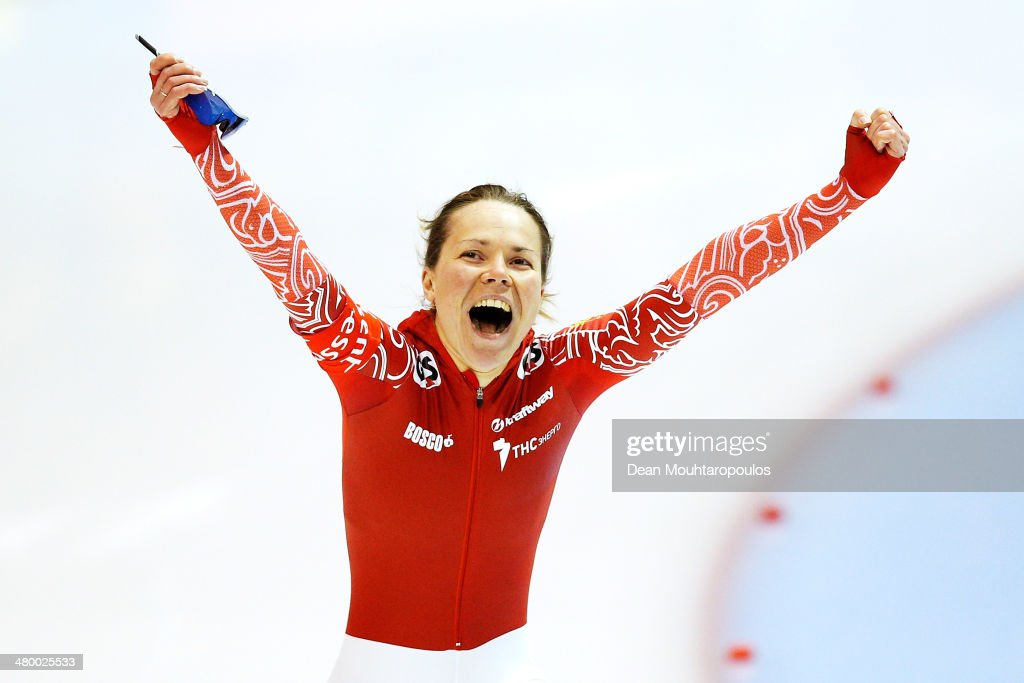 <a gi-track='captionPersonalityLinkClicked' href=/galleries/search?phrase=Olga+Graf&family=editorial&specificpeople=8696814 ng-click='$event.stopPropagation()'>Olga Graf</a> of Russia celebrates after she competes in the 500m Ladies Race during day one of the Essent ISU World Allround Speed Skating Championships at the Thialf Stadium on March 22, 2014 in Heerenveen, Netherlands.