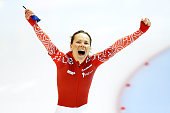 Olga Graf of Russia celebrates after she competes in the 500m Ladies Race during day one of the Essent ISU World Allround Speed Skating Championships...