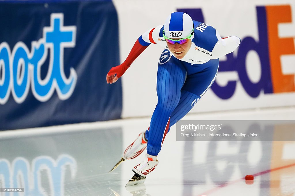 <a gi-track='captionPersonalityLinkClicked' href=/galleries/search?phrase=Olga+Graf&family=editorial&specificpeople=8696814 ng-click='$event.stopPropagation()'>Olga Graf</a> of Russia competes during the ladies 1500m during day 4 of the ISU World Single Distances Speed Skating Championships held at Speed Skating Centre «Kolomna» Ice Arena on February 14, 2016 in Kolomna, Russia.