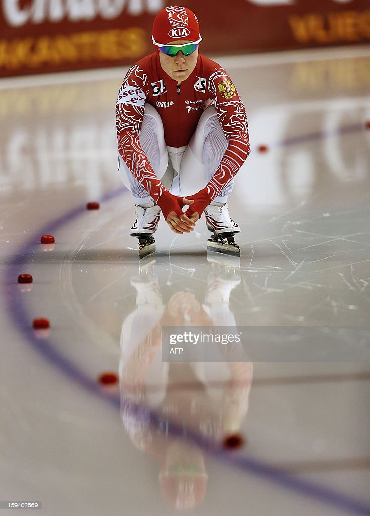 Olga Graf of Russia looks on at the start of the women's 1500 meter race during the European Speed Skating Championships in Heerenveen, The Netherlands, on January 13, 2013.