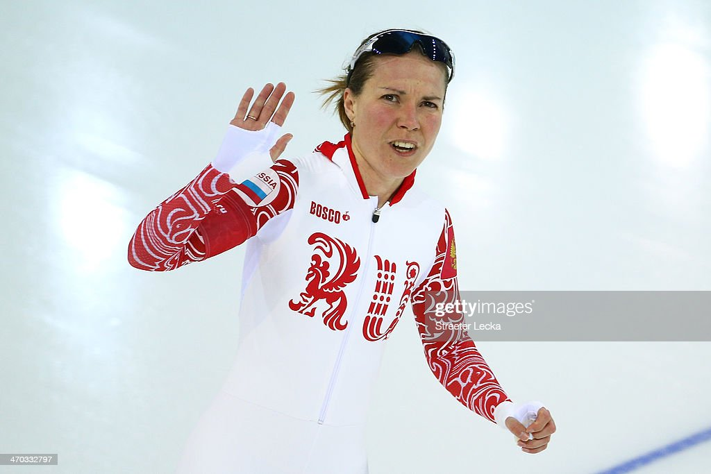 <a gi-track='captionPersonalityLinkClicked' href=/galleries/search?phrase=Olga+Graf&family=editorial&specificpeople=8696814 ng-click='$event.stopPropagation()'>Olga Graf</a> of Russia reacts after competing during the Women's 5000m Speed Skating event on day twelve of the Sochi 2014 Winter Olympics at Adler Arena Skating Center on February 19, 2014 in Sochi, Russia.