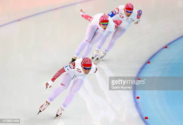 Olga Graf Yekaterina Lobysheva and Yuliya Skokova of Russia compete during the Women's Team Pursuit Quarterfinals Speed Skating event on day fourteen...
