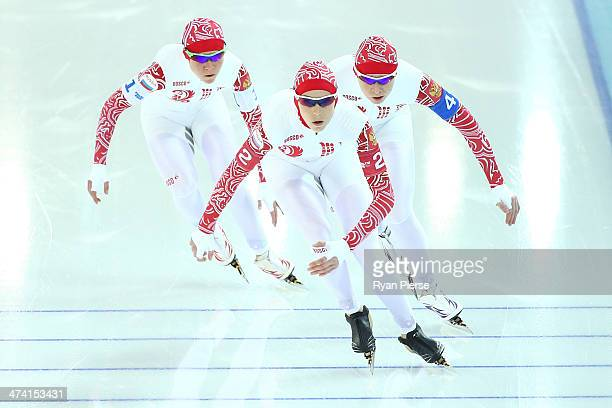 Olga Graf Yekaterina Lobysheva and Yuliya Skokova of Russia compete during the Women's Team Pursuit Final B Speed Skating event on day fifteen of the...
