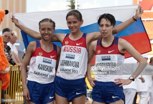 Olga Kaniskina Elena Lashmanova and Anisya Kirdyapkina of Russia pose for photo after finishing the women's 20 km IAAF World Race Walking Cup 2012 on...