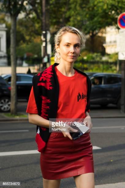 Olga Karput is seen attending AALTO during Paris Fashion Week wearing AALTO vintage on September 27 2017 in Paris France