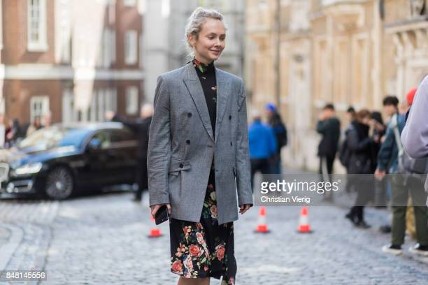 Olga Karput outside Simone Rocha during London Fashion Week September 2017 on September 16 2017 in London England