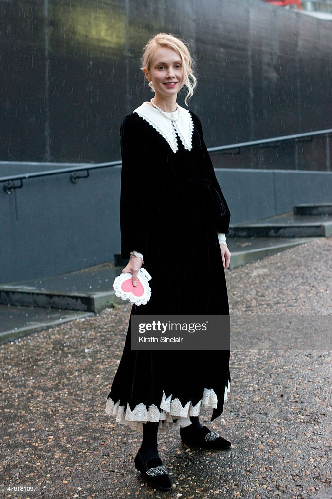 Olga Karputt wears a Meadham Kirchhoff dress on day 5 of London Collections: Women on February 18, 2014 in London, England.