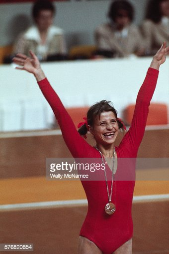 olga korbut at the montreal olympics stock photo