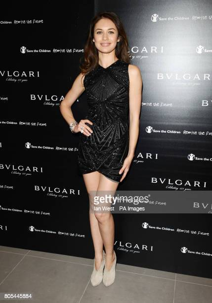 Olga Kurylenko arriving at the Vogue Bvlgari 125th Anniversary Party drinks reception in aid of Save The Children at the Saatchi Gallery Kings Road...