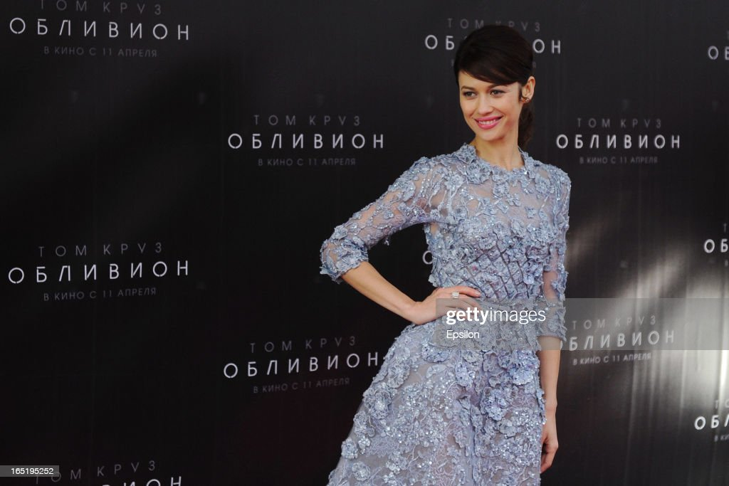 Olga Kurylenko attend the film premiere of 'Oblivion' at the Oktyabr cinema hall on April 1, 2013 in Moscow, Russia.