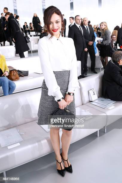 Olga Kurylenko attends the Chanel show as part of Paris Fashion Week Haute Couture Spring/Summer 2014 on January 21 2014 in Paris France