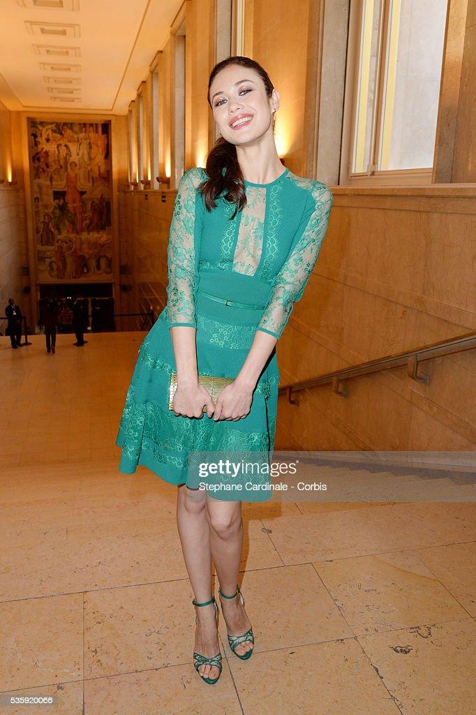 Olga Kurylenko attends the Elie Saab show as part of Paris Fashion Week Haute Couture Spring/Summer 2014 , at Theatre National de Chaillot, in Paris.