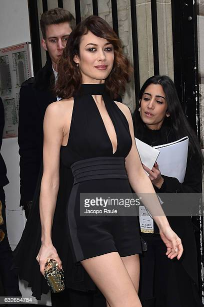 Olga Kurylenko is seen arriving at Elie Saab Fashion Show during Paris Fashion Week Haute Couture Spring Summer 2017 on January 25 2017 in Paris...