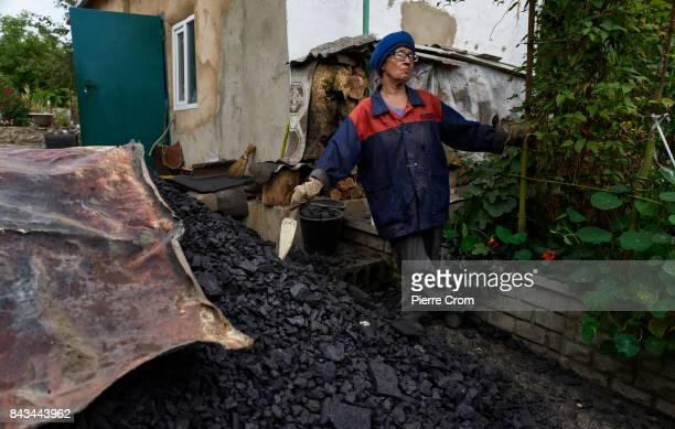 Olga Mandur store charcoal in her house located on the frontline on September 06 2017 in Avdiivka Ukraine The frontlinecity Avdiivka is located on...