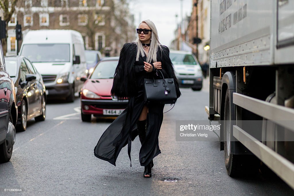 Olga Oliwye Soukupova wearing a black Saint Laurent bag outside Daks during London Fashion Week AW16 on February 19, 2016 in London, England, United Kingdom.
